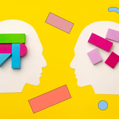 Animated outline of two people's heads, showing different building blocks in their brains