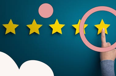Five stars with a finger pointing to the one on the far right