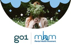 Female holding a bunch of flowers in front of her face with logos underneath