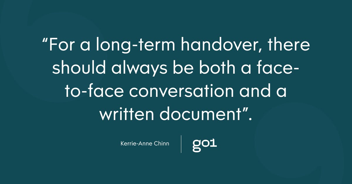 Pull quote with the text: for a long-term handover, there should always be bother a face-to-face conversation and a written document