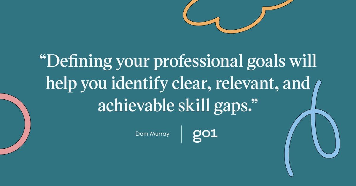 Pull quote with the text: defining your professional goals will help you identify clear, relevant, and achievable skill gaps