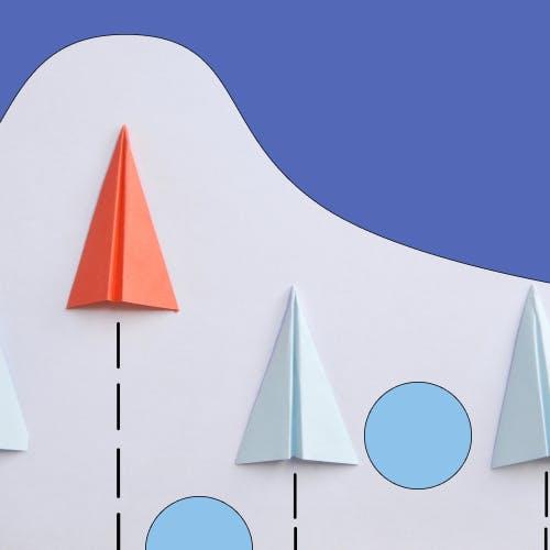 Paper aeroplanes on an upward trajectory