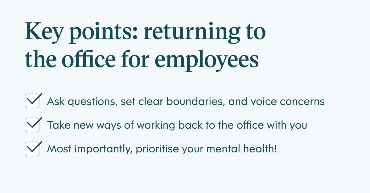 Infographic showing key points of returning to office life for employees