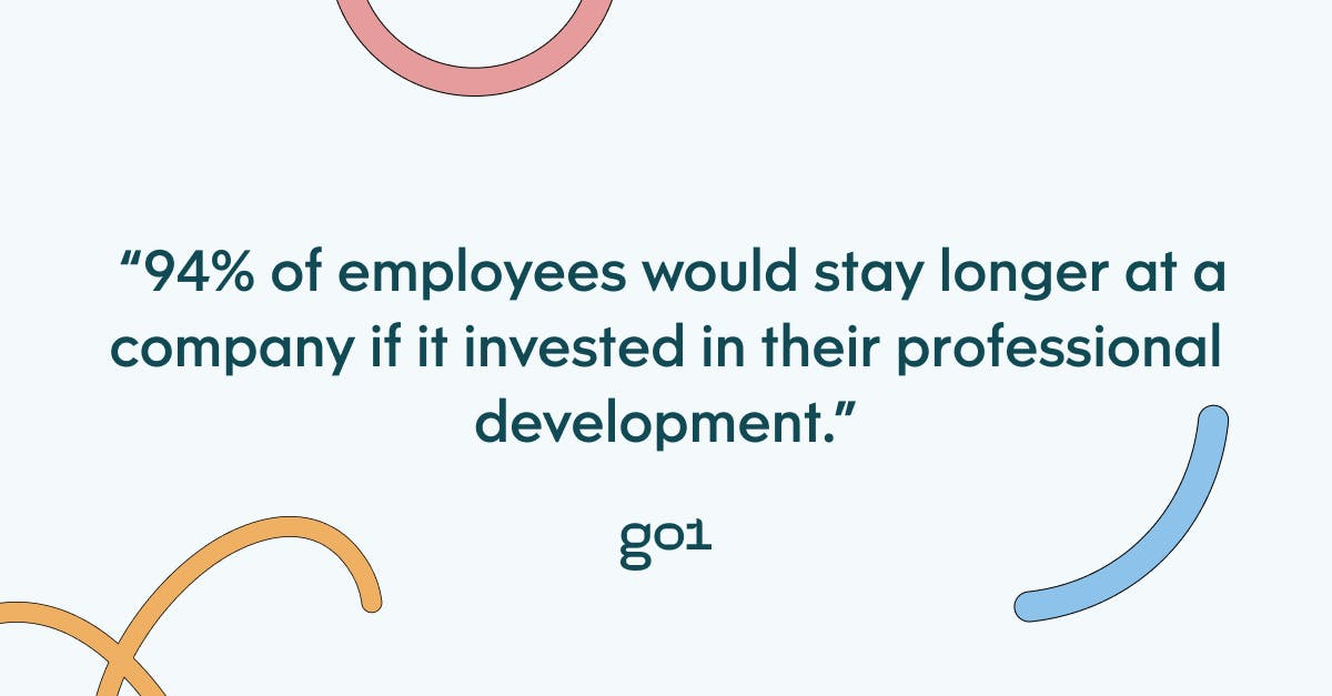 Pull quote with the text: 94% of employees would stay longer at a company if it invested in their professional development