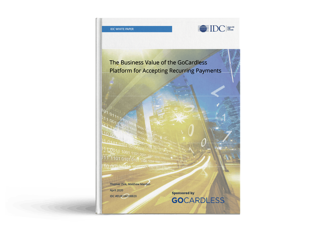 IDC white paper cover - The Business Value of the GoCardless Platform for Accepting Recurring Payments