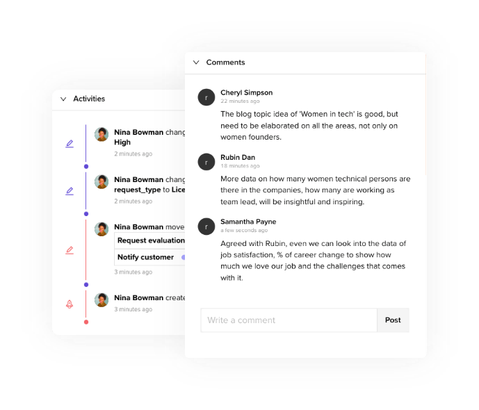 Comments, activity logs while working remotely.