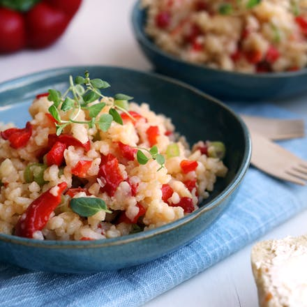 Ovnsbakt risotto med paprika og Go'Vegan Mozzarella