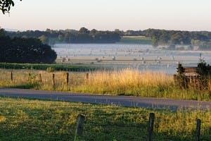 Vue arrière depuis la longère, matin brumeux
