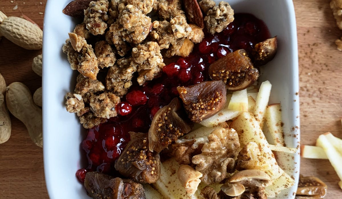 Apple & Cinnamon Granola combined with figs, nuts and apples