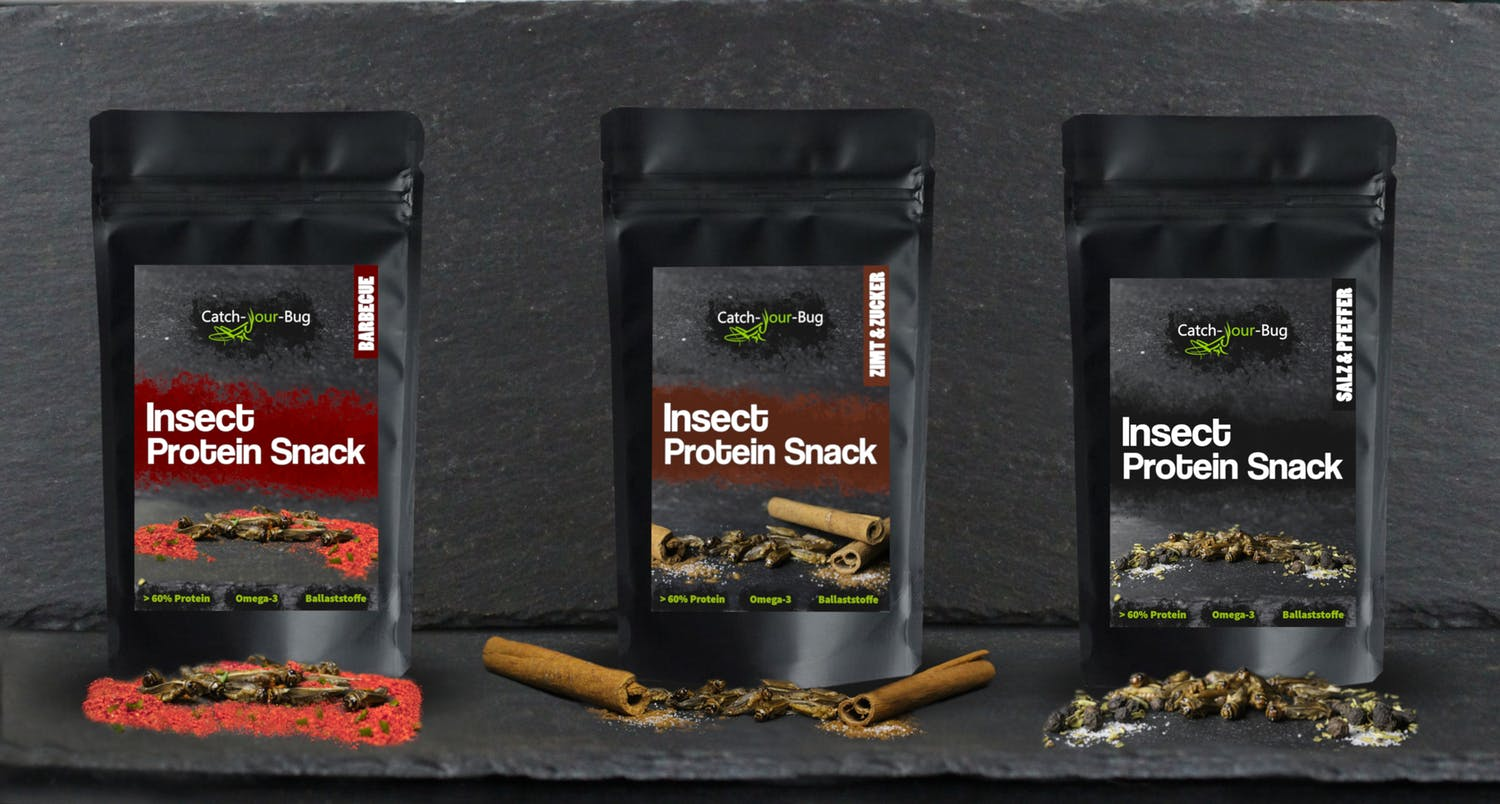 Three new Catch-your-bug Insect Protein Snacks