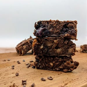 Front view of stacked entovegan brownies