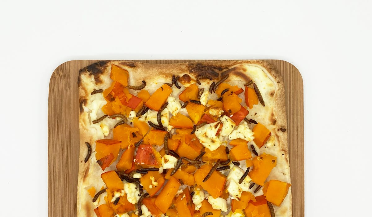 Pumpkin feta flammkuchen with mealworms