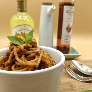 Spaghetti Bolognese with the sauce from Imago Insects