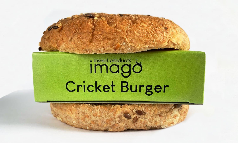 Imago Cricket Burger package wrapped in a burger bun