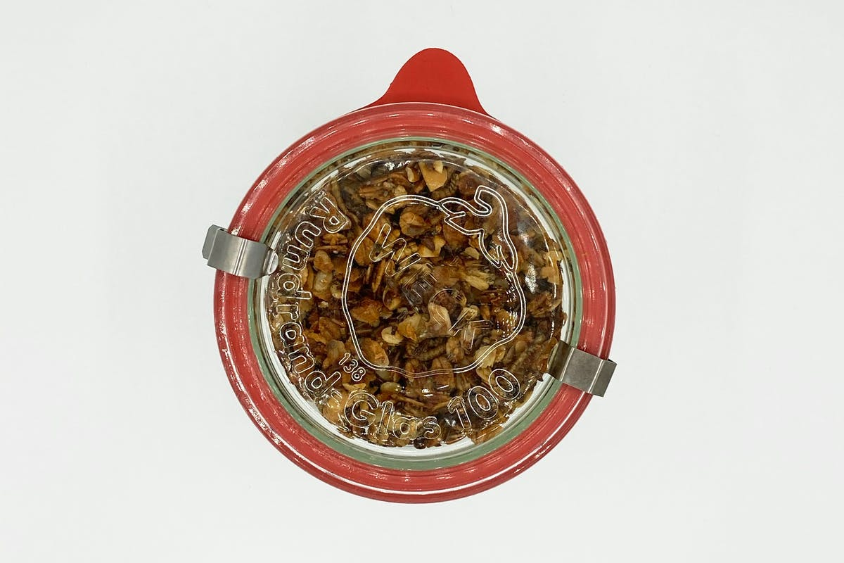 Mealworm Granola preserved in a Mason jar