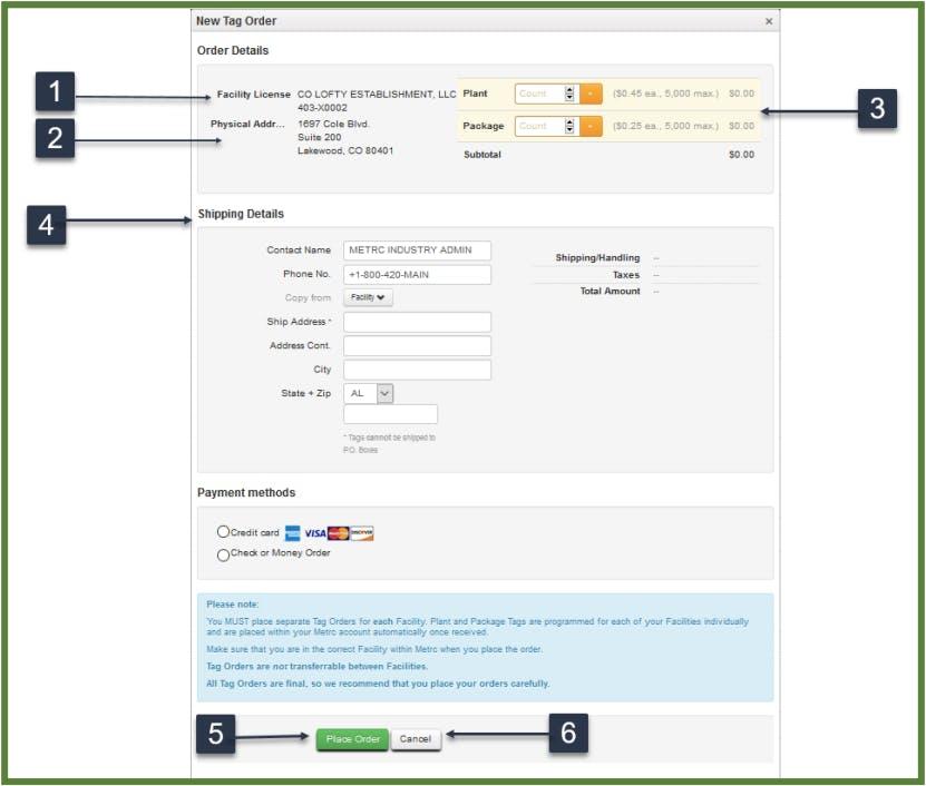 Order Metrc Tags Dashboard