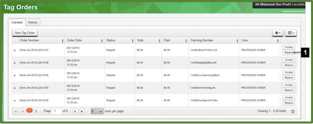 Metrc Tag Orders Dashboard | Receiving Plant and Package Tags