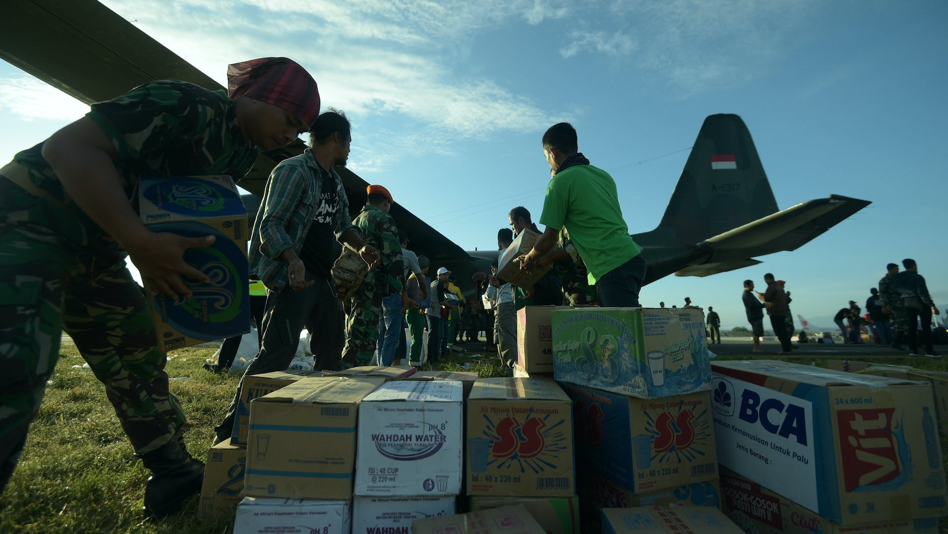 Chartered flights can drop humanitarian supplies into disaster zones.