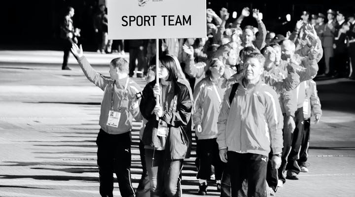 Sport team arriving to a game