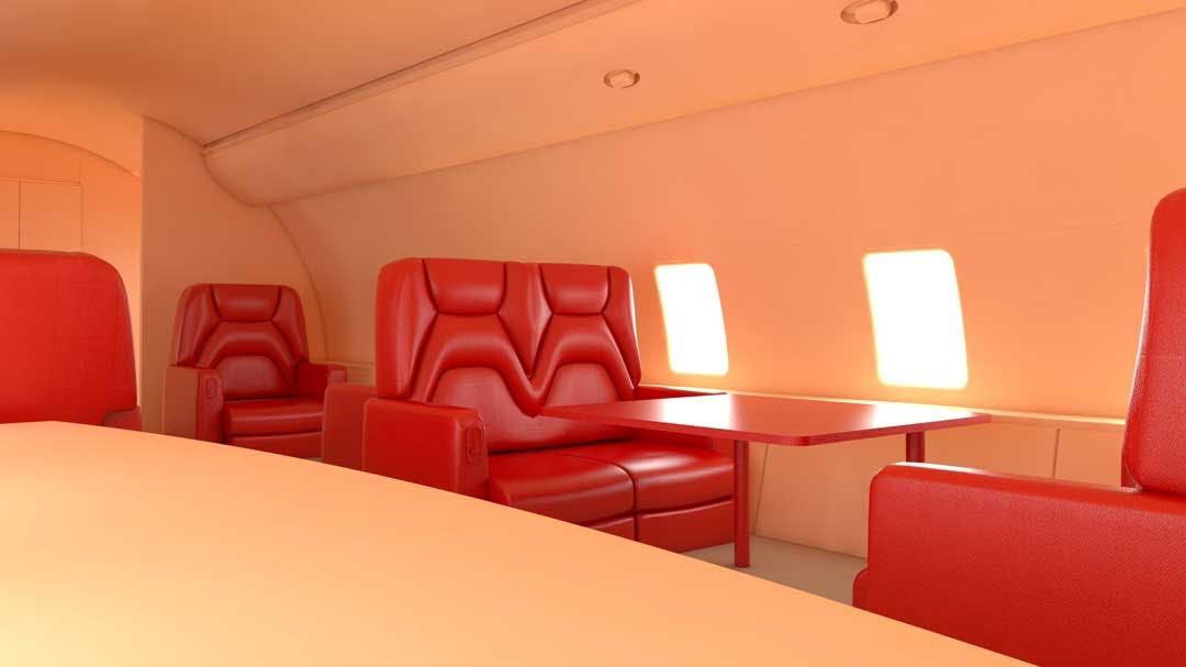 A custom interior on a private charter plane