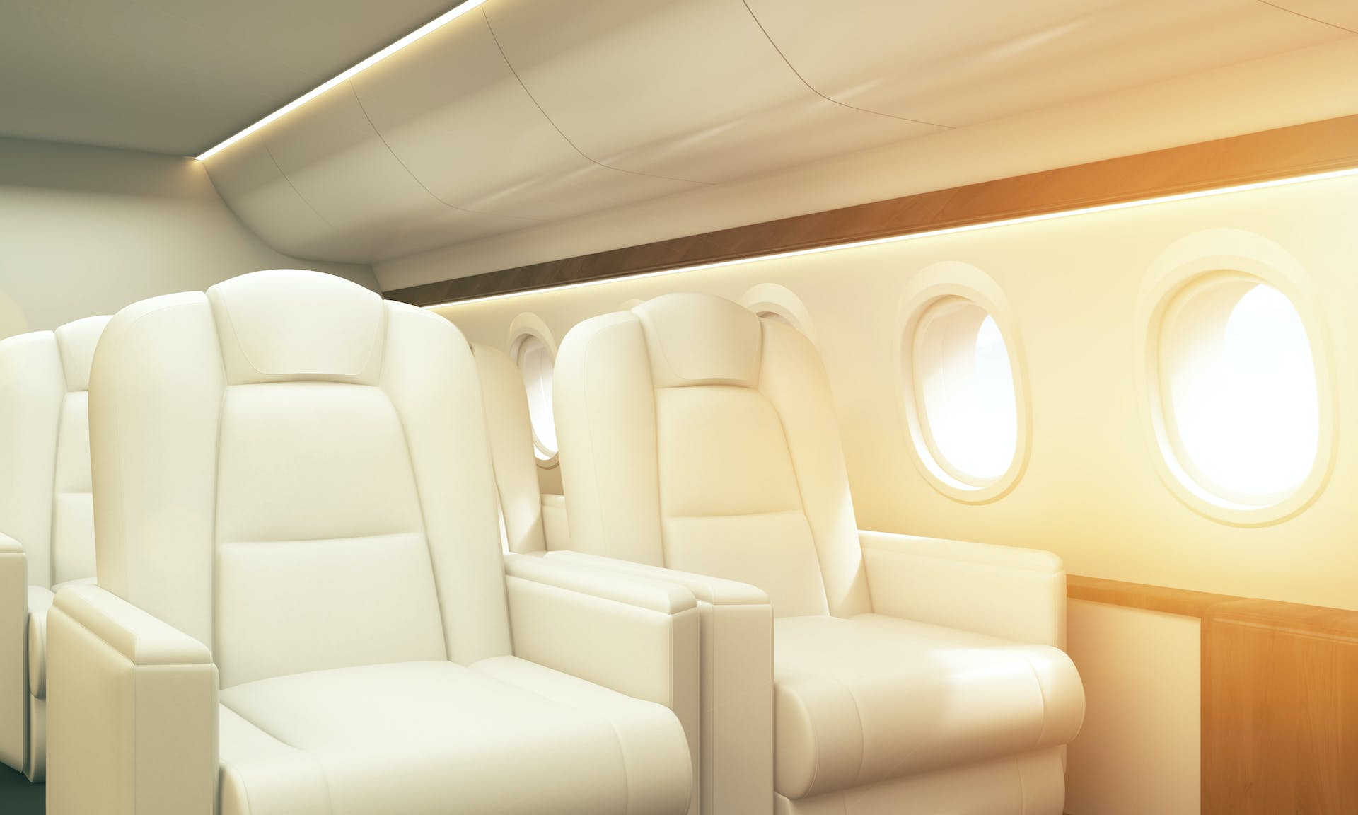 Comfortable leather seats inside charter flight, heading for crew change.