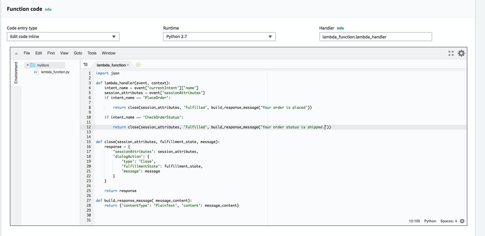 Lambda function code inline