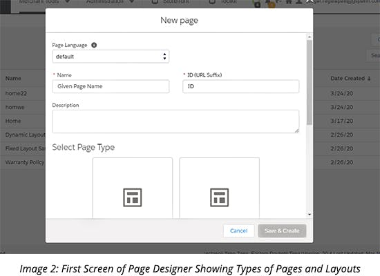First Screen of Page Designer Showing Types of Pages and Layouts