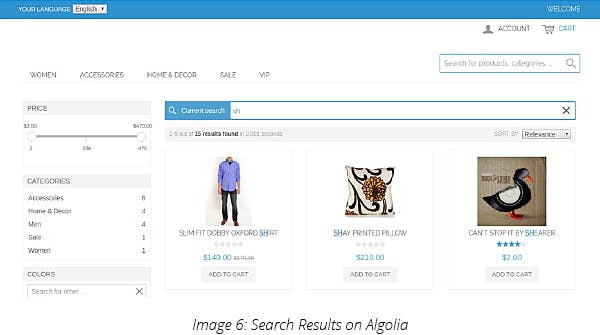 Search Results on Algolia