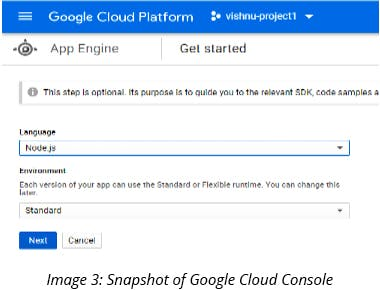 Snapshot of Google coud console