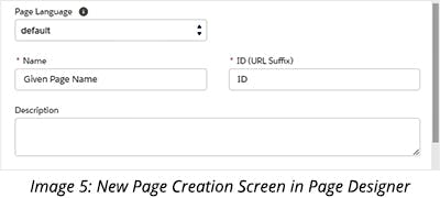 New Page Creation Screen in Page Designer