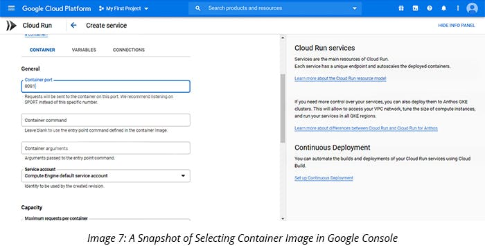 A Snapshot of Selecting Container Image in Google Console