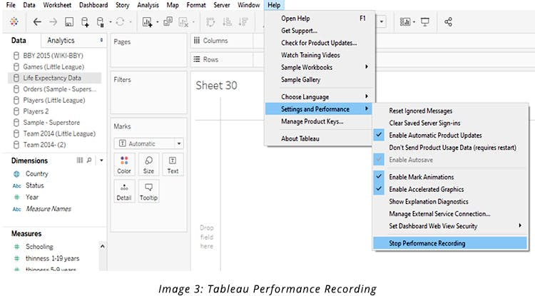 Tableau Performance Recording
