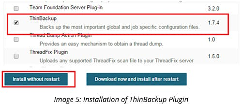 Installation of ThinBackup Plugin