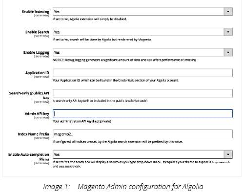 Magento Admin configuration for Algolia