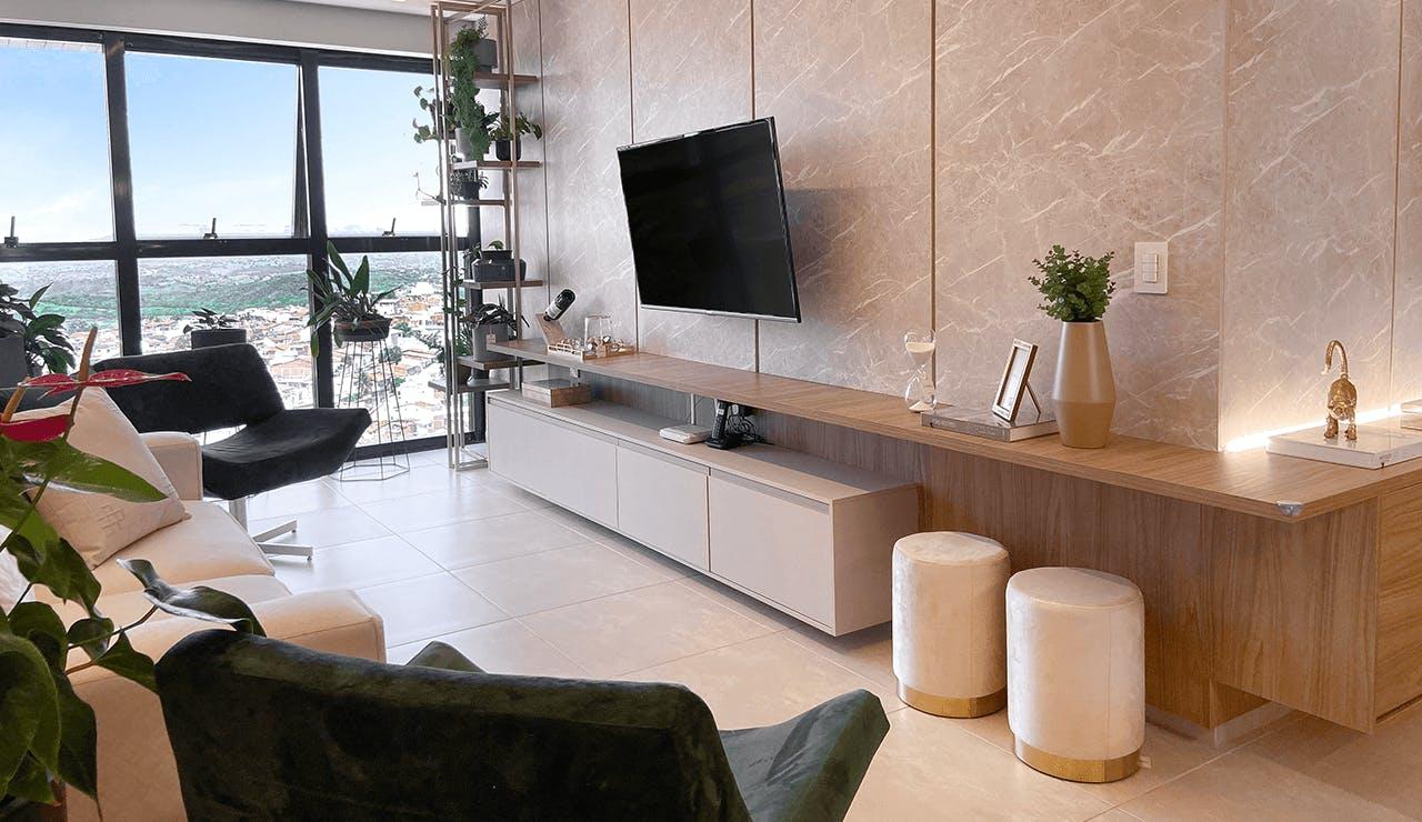 painel de TV mármore
