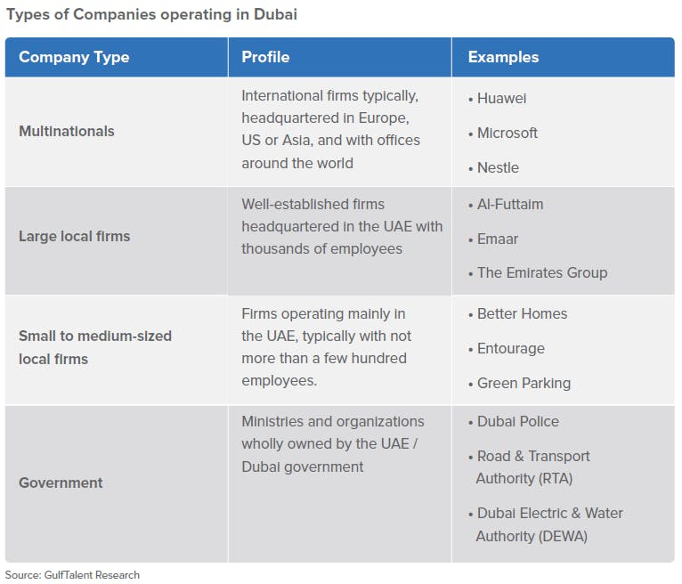 Types of Companies operating in Dubai