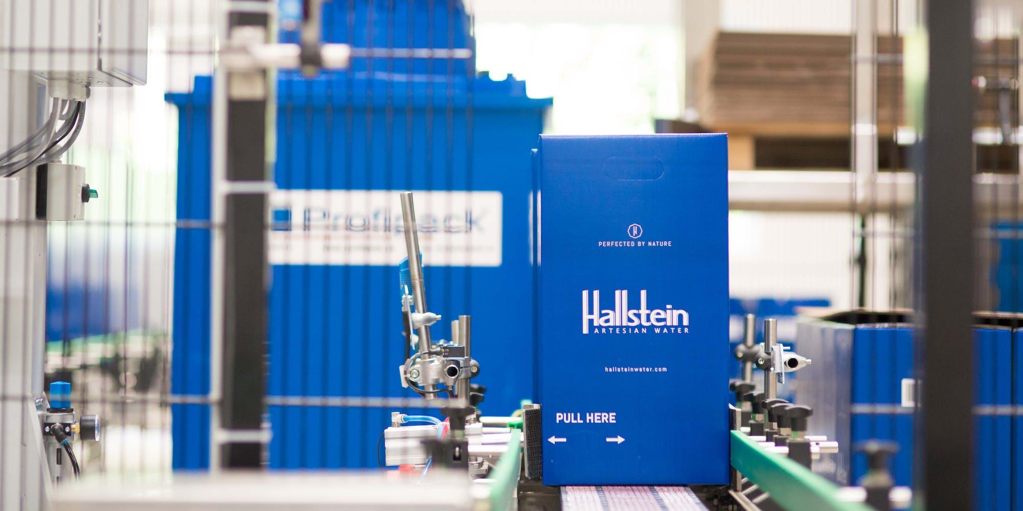Hallstein bottle packaging in the factory in Obertraun, Austria.