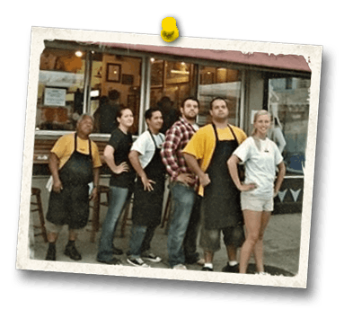 Hank's Haute Dogs employees in front of old location