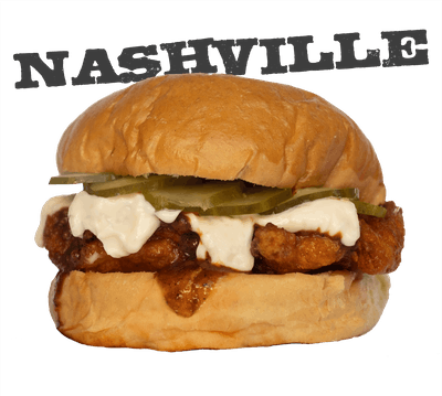 Nashville Hot Chicken - EVERYDAY Southern fried, spicy hot sauce, mayo, dill pickles.