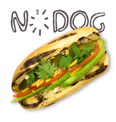 Nodog - Avocado, tomato, onion, pickle, cilantro, spicy chipotle mayo, cheddar cheese.
