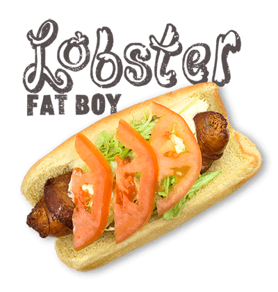 Lobster Fat Boy - FRIDAY-SATURDAY-SUNDAY Bacon wrapped Lobster Dog, deep fried, garlic aioli, lettuce, tomato.