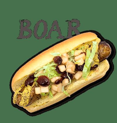 Boar - TUESDAY Feral pig sausage, cran-apple relish, black pepper-thyme Dijon, lettuce.