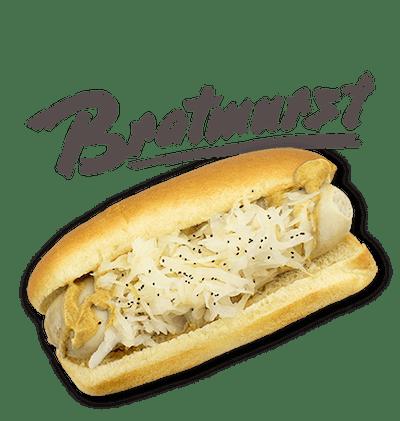 Bratwurst - Pork-beef German style white sausage, Dusseldorf mustard, sauerkraut.