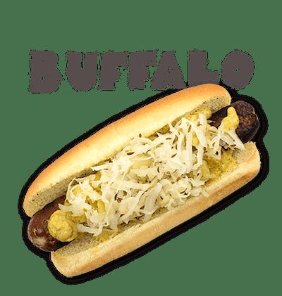 Buffalo - THURSDAY Lean beefy blend, Guinness mustard, pineapple relish, caraway sauerkraut.