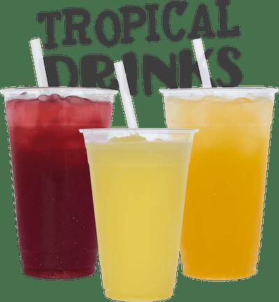 Tropical Drinks - Hibiscus Lemonade Lilikoi-Lime Soda Pineapple Ice