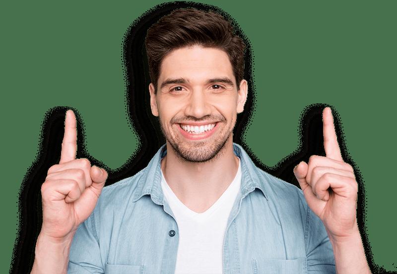 Smiling man pointing up