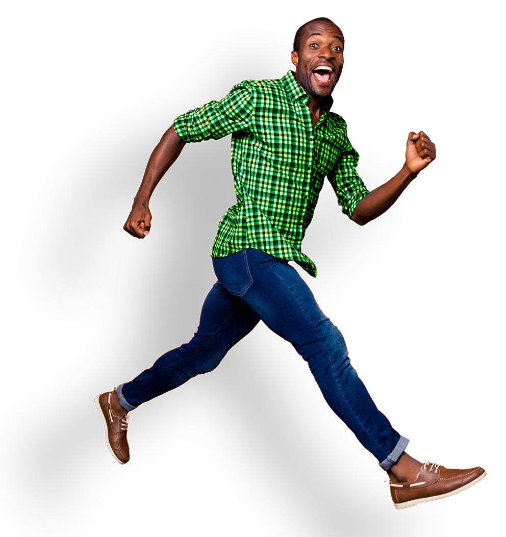 Sétáló boldog ember