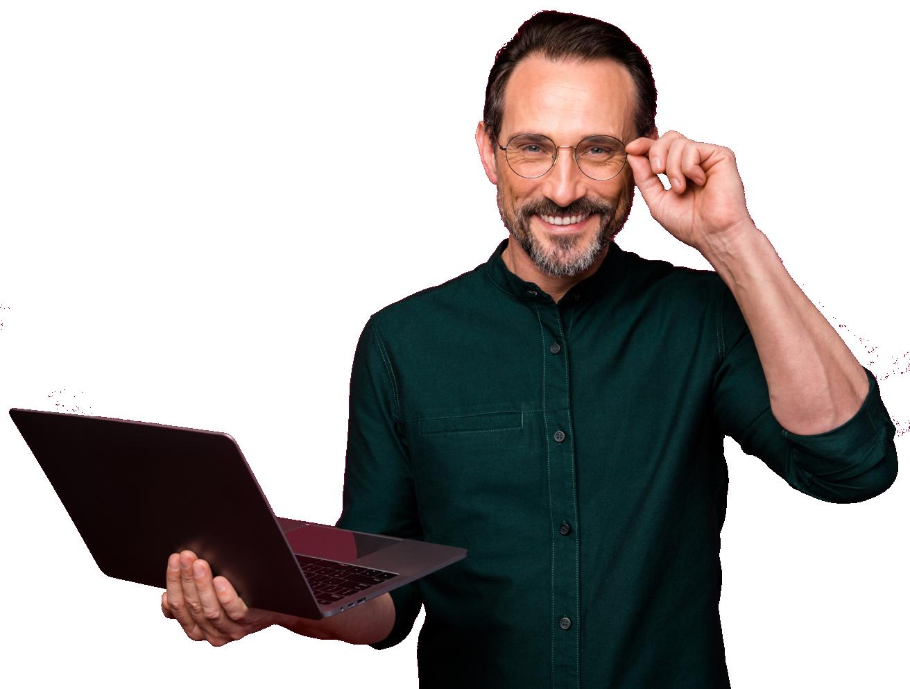 Man holding a computer