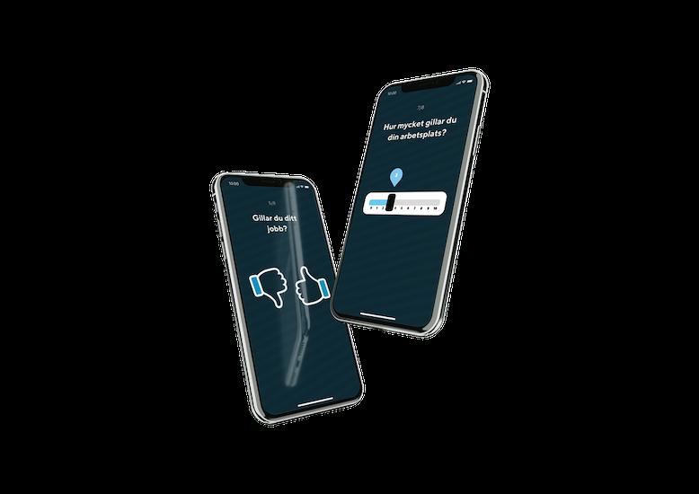 Två mobiltelefoner som visar undersökningar