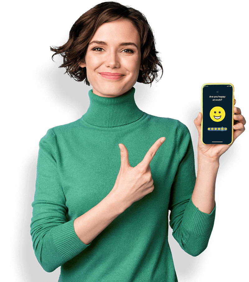 Woman holding a phone and pointing at it